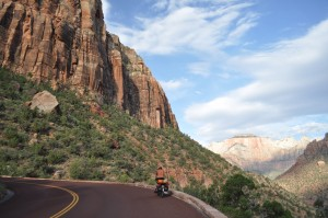 Our ride through the Zion Canyon on our way out of the park. Uphill and worth it!