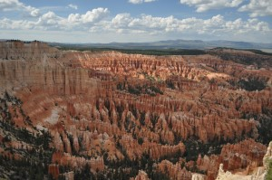 Our first glimpse into the Bryce Amphitheatre--the part of the park with the highest density of eroded formations.