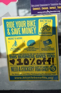 Yep, if you show up on your bike to participating businesses, you get a discount! Nice work, Asheville!