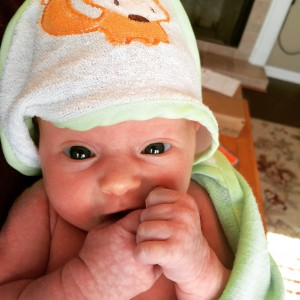 After a bath--bright-eyed and wide awake!