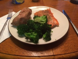 Dinner day 1: salmon, sweet potato and broccoli. Something tells me I'll be taking a lot of food pictures over the next month!