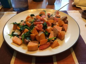 The sweet potato hash with sausage and fresh veggies became another favorite on the Whole 30!